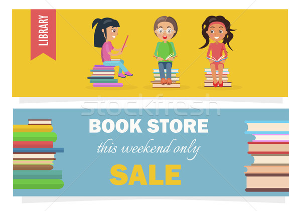 Bookstore This Weekend Only Sale and Kids Library Stock photo © robuart