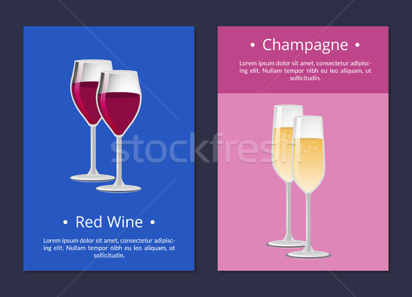 Red Wine and Champagne Glasses Set Posters Vector Stock photo © robuart