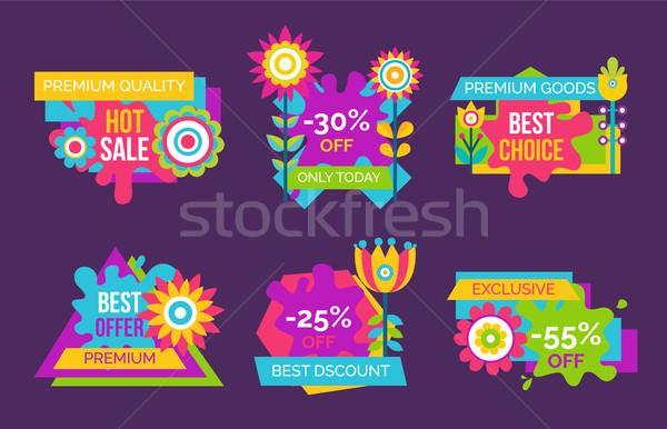 Hot Sale Premium Quality Promo Labels Set Flowers Stock photo © robuart