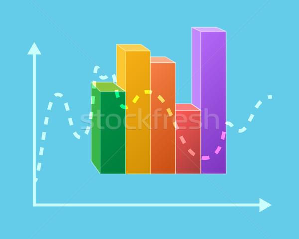 Colorful Statistical Chart Isolated Ups and Downs Stock photo © robuart