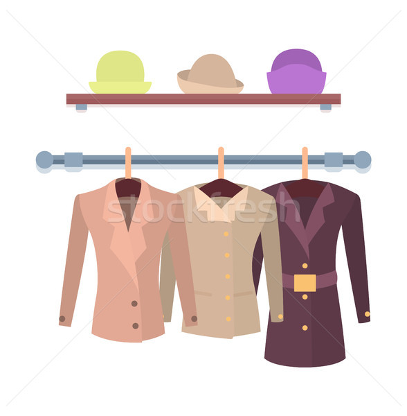 Set of Women Jackets Outer Garment and Shelf Hats Stock photo © robuart