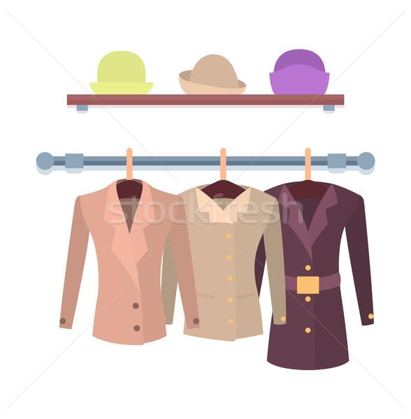 Ingesteld vrouwen kledingstuk plank hoeden Stockfoto © robuart