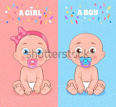 Meisje jongen weinig kinderen grote ogen verschillend Stockfoto © robuart