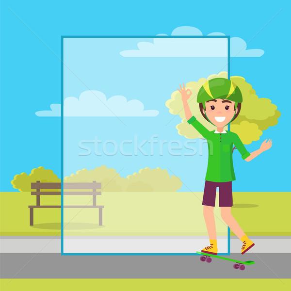 Imagen verde skateboarding ropa cute Foto stock © robuart
