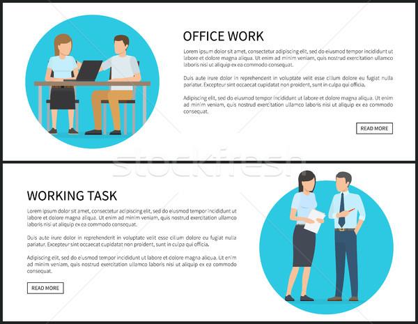Pracy biurowej pracy zadanie info Internetu banery Zdjęcia stock © robuart