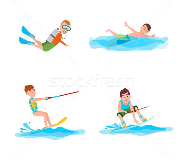 Verano colección actividades natación nino Foto stock © robuart