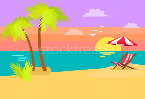 Seashore Coastal View Tropical Beach Sea Sand Palm Stock photo © robuart
