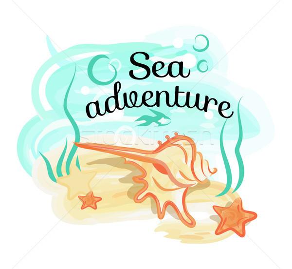 Mer aventure affiche shell mensonges profonde Photo stock © robuart
