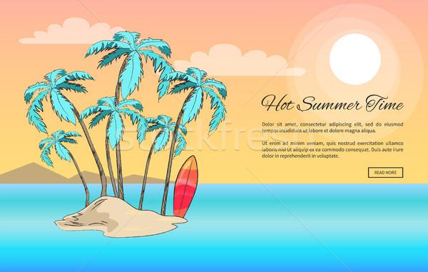 Voor altijd zomer poster klein eiland hot Stockfoto © robuart