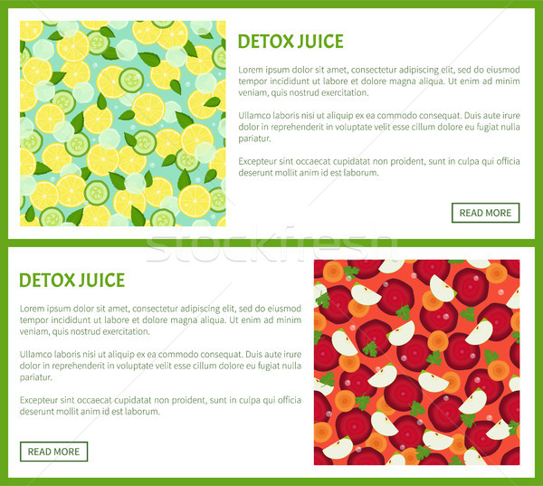 Detox Juice Poster Ingredients of Refreshing Drink Stock photo © robuart