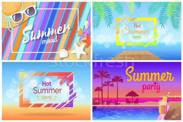 Summer Landscape Beach Composition Set Posters Stock photo © robuart