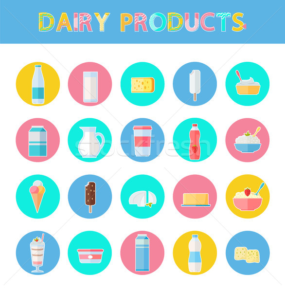 Diary Products Icons Set, Vector Illustration Stock photo © robuart