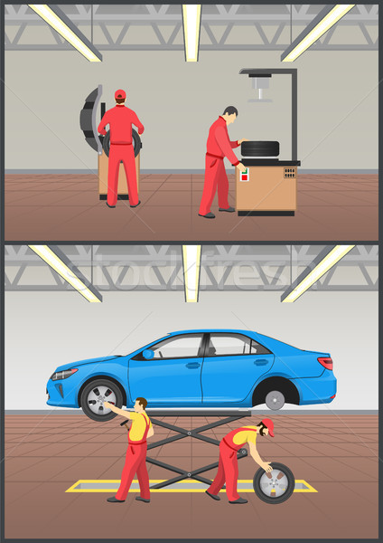 Job with Automobile Fixing Vector Illustration Stock photo © robuart