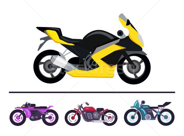 Modern Bike Design Yellow Scooter Set Motorbikes Stock photo © robuart