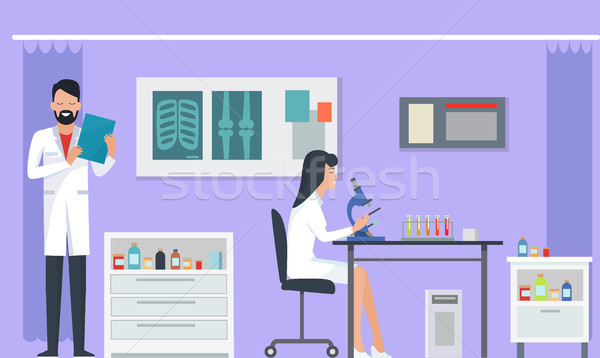 Laboratory and Researches on Vector Illustration Stock photo © robuart