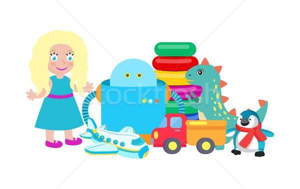 Doll and Robot Set of Toys Vector Illustration Stock photo © robuart