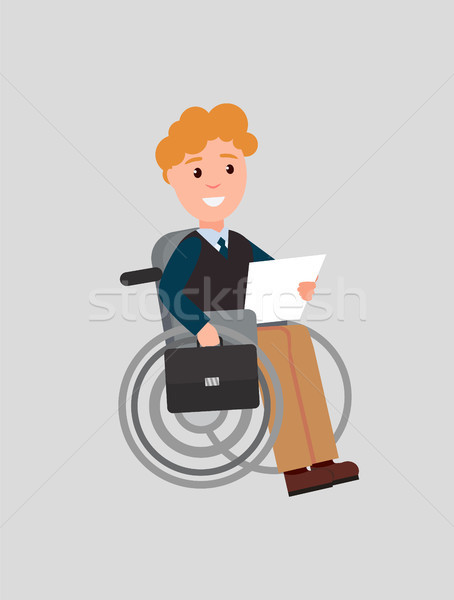 Disabled Man Reading Paper Vector Illustration Stock photo © robuart