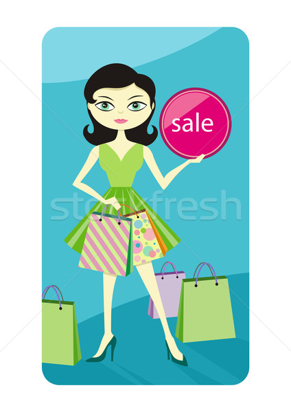 Shopping sale girl showing shopping bag with lable Stock photo © robuart