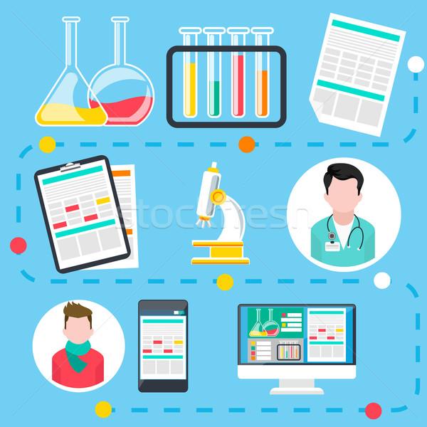 Online orvosi konzultáció diagnózis infografika lépcső Stock fotó © robuart