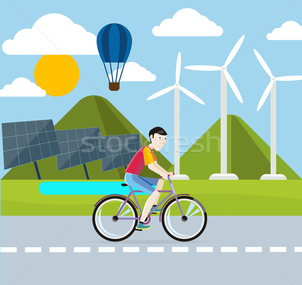 Renewable energy concept. Solar and wind Stock photo © robuart