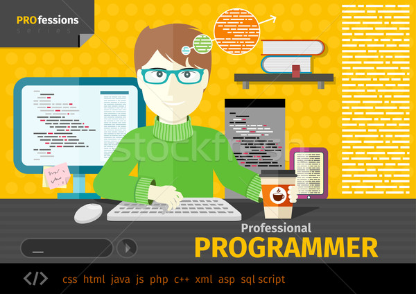 Masculina programador digital lugar de trabajo profesional Foto stock © robuart