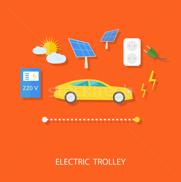 Eco concept of electric trolley and eco energy Stock photo © robuart