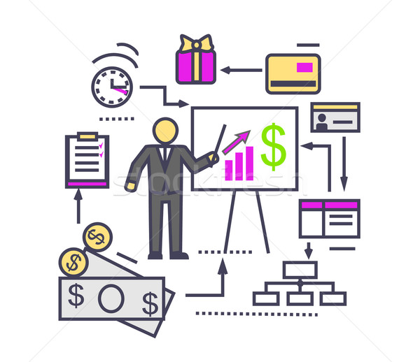 Concept of Financial Analysis Icon Flat Stock photo © robuart