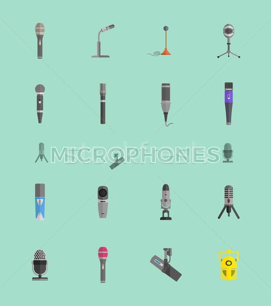 Stok fotoğraf: Mikrofon · ayarlamak · dizayn · yalıtılmış · ikon · bağbozumu