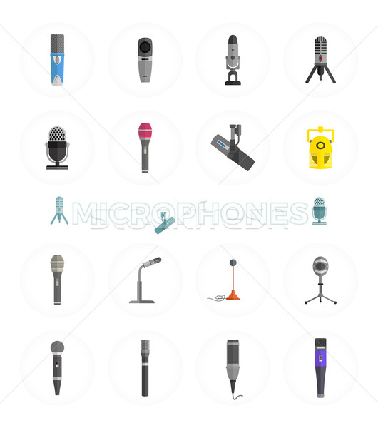 Microphone Set Design Flat Isolated Stock photo © robuart