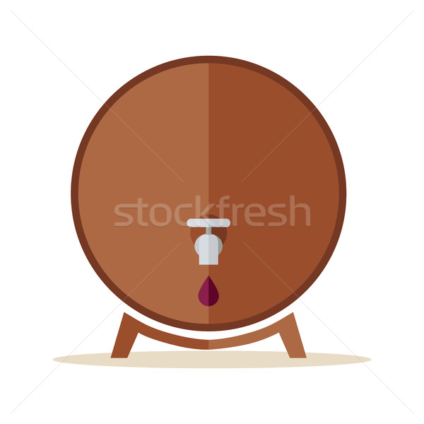 Ahşap namlu çelik dokunun şarap halka Stok fotoğraf © robuart