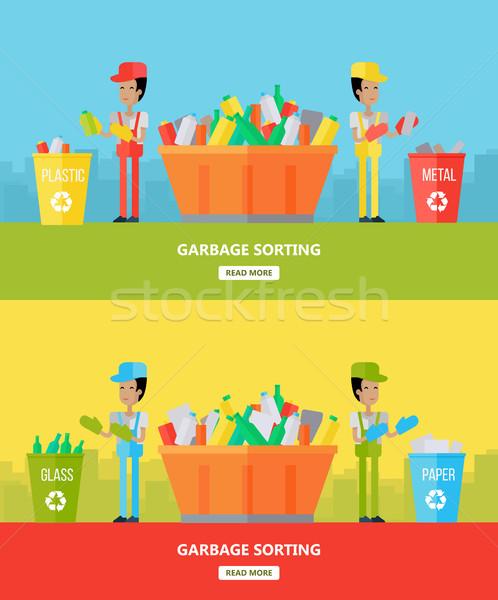 Szemét website design sablon két férfi szemét újrahasznosítás Stock fotó © robuart