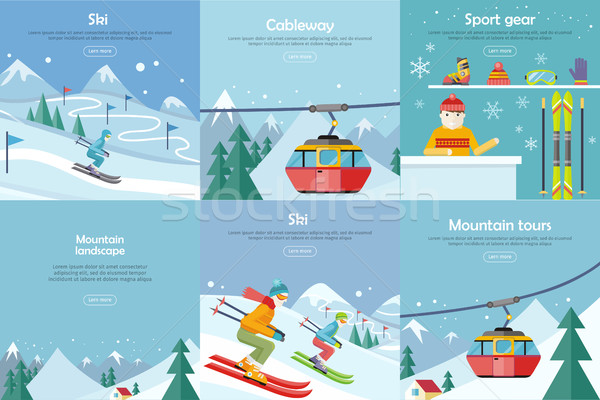 Set of Winter Leisure Vector Flat Style Banners Stock photo © robuart