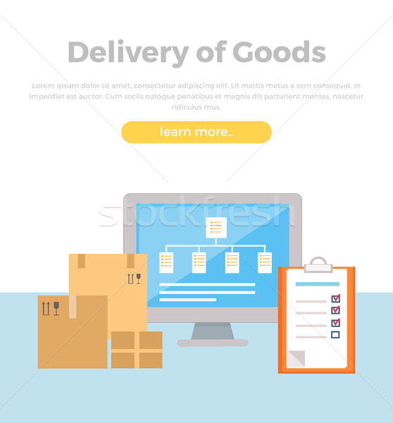 Delivery of Goods Web Banner in Flat Style Design. Stock photo © robuart