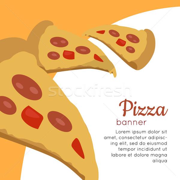 Pizza banner italiano queso tomate Foto stock © robuart