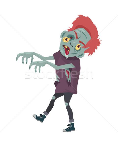 Zombi karakter sétál nyújtott kezek izolált Stock fotó © robuart