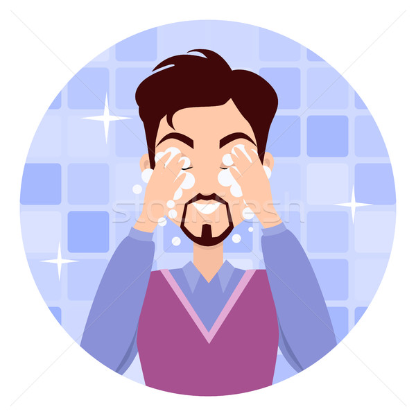 Człowiek twarz umyć mycia krem Zdjęcia stock © robuart