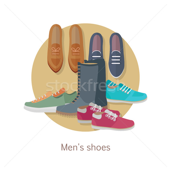 Men s Shoes. Stylish Footwear for Man. Vector Stock photo © robuart
