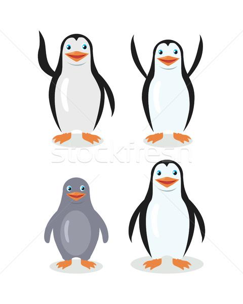 Funny Emperor King Penguins Set Isolated on White Stock photo © robuart