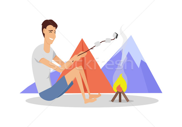 Camping Tent Near Fire and Mountains Stock photo © robuart