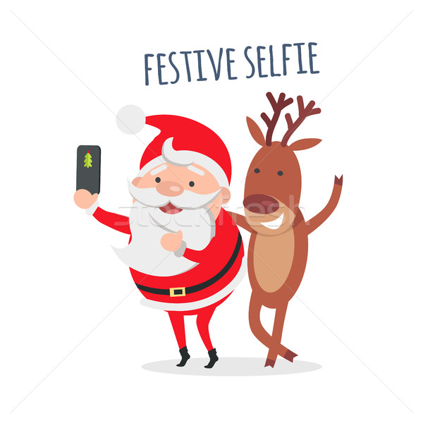 Santa Makes Festive Selfie with Reindeer. Vector Stock photo © robuart