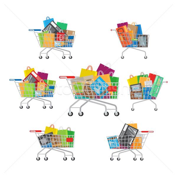Zestaw siedem pełny cartoon zakupy inny Zdjęcia stock © robuart