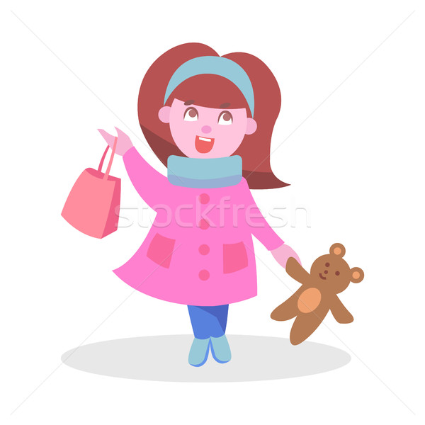 Cute Girl with Bear Toy and Bag Flat Vector Icon Stock photo © robuart
