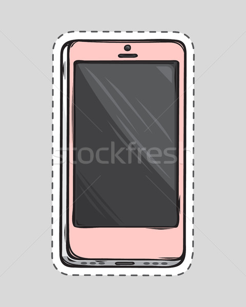 Mobile Phone Patch. Cut Out of Paper. Dashed Line Stock photo © robuart