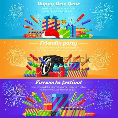 Feliz ano novo fogos de artifício festival festa amigável vetor Foto stock © robuart