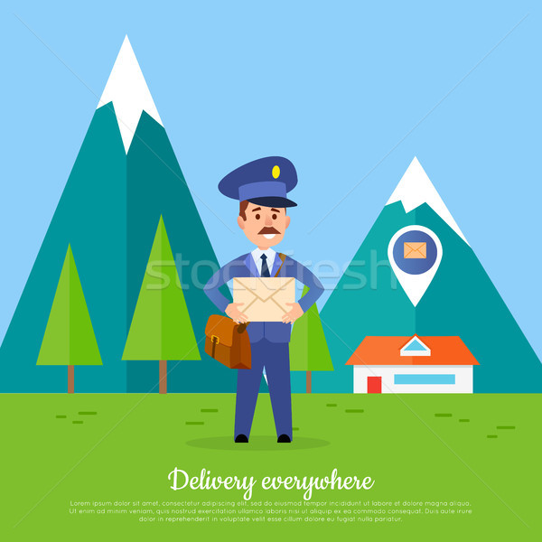 Delivery Everywhere Banner. Courier with Package Stock photo © robuart