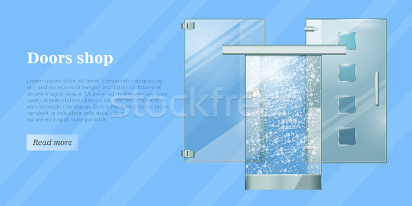 Glass Doors Conceptual Flat Vector Web Banner Stock photo © robuart