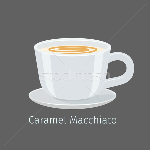 Porcelain Cup with Caramel Macchiato Flat Vector Stock photo © robuart