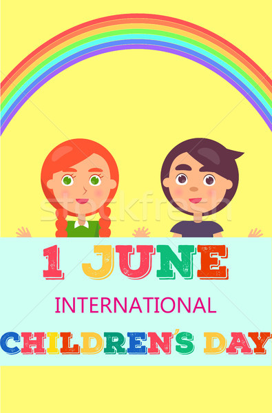 1 June International Day Poster with Two Kids Stock photo © robuart