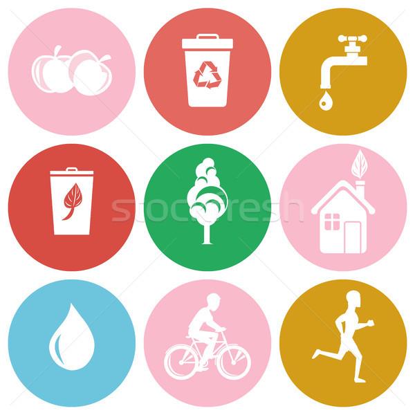 Photo stock: écologie · santé · protection · isolé · icônes · symboles