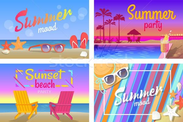 Nyár tengerpart buli jó hangulat plakátok szett Stock fotó © robuart